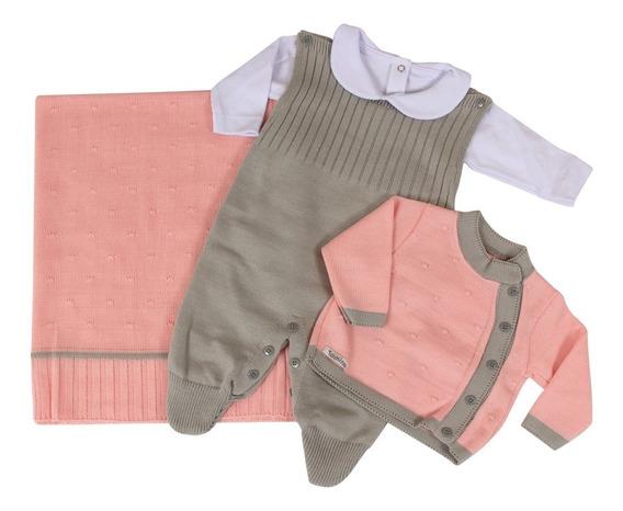 Saída De Maternidade Menina Rosa Tricô Luxo 4 Peças