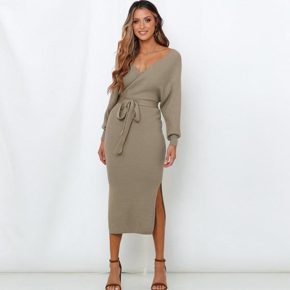 Color Sólido Cuello En V Suéter De Punto Vestido