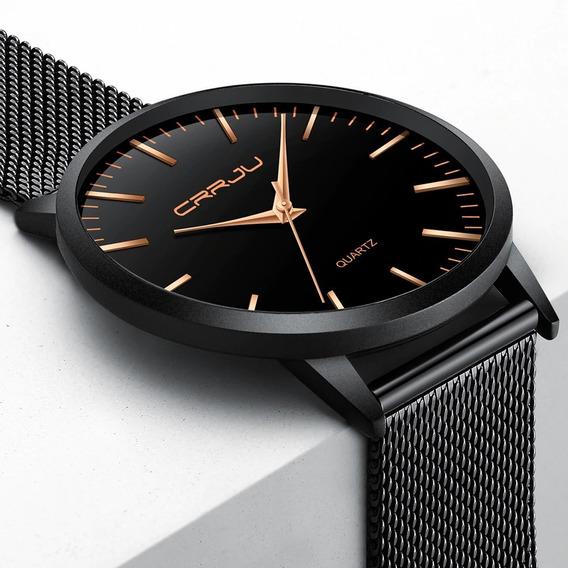 Relógio Masculino Social Ultra Fino De Luxo Preto E Dourado