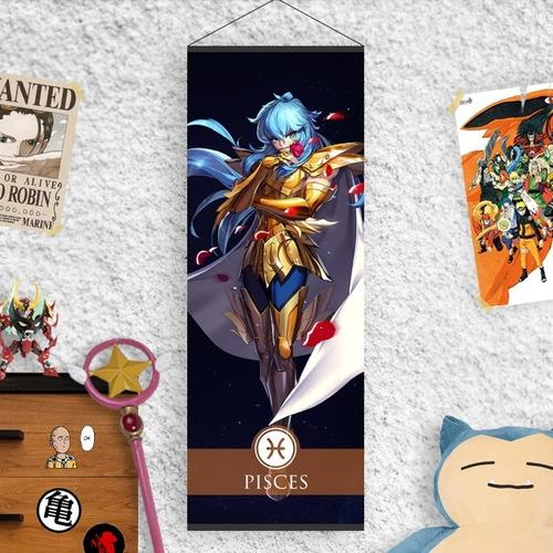 Imagen 1 de 2 de Lona Caballeros Del Zodiaco Armadura Dorada Piscis Afrodita