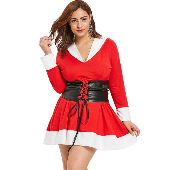 Vestido Con Capucha De Navidad En Dos Tonos De Talla Grande
