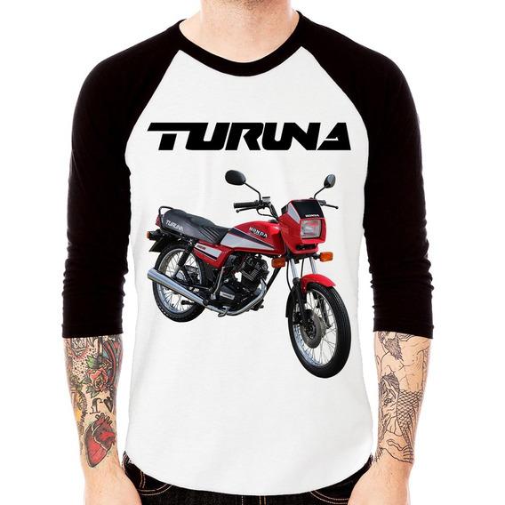 Camiseta Raglan Moto Honda Turuna 125 3/4