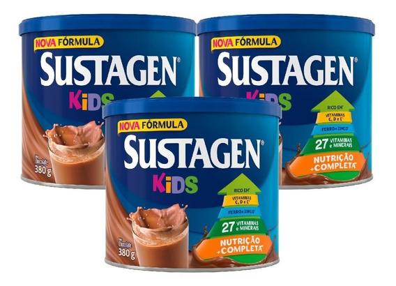 Sustagen Kids Nutrição Infantil 380g Chocolate - 3 Unid.
