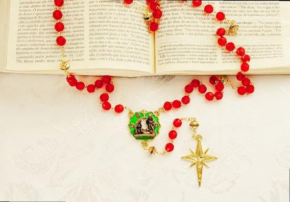Terço Natal Contas Em Cristal Acrílico Vermelho Presépio Strass Resina - Lançamento