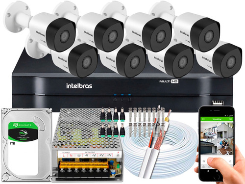 Kit Cftv 8 Cameras 3230b G4 2mp 30m Intelbras Dvr 16 Canais