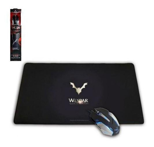 Kit Gamer Wesdar X2 Mouse 2400dpi 6 Botoes + Mouse Pad