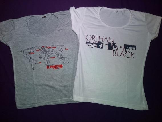 Remeras X2- Orphan Black Y La Cada De Papel Talle M