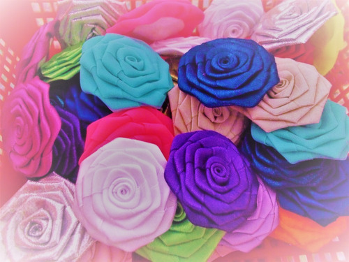Combo De Flores En Cinta Y Tela Para Lazos, Diademas, Etc