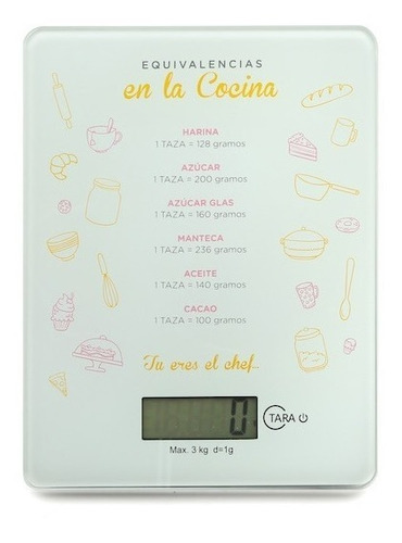 Imagen 1 de 5 de Balanza Electronica Digital De Cocina 3 Kilos Alta Precision
