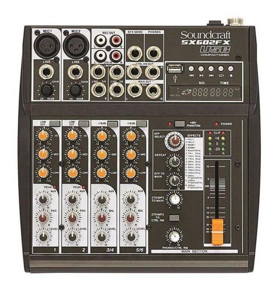 Mixer Analogico Soundcraft Sx602fx 6 Canais Usb
