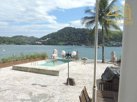 Angra Dos Reis - Excelente Casa Na Beira Da Praia Ponta Dos Ubás 06 Suítes Piscina Local Para Barco Para Venda. - Ca0315