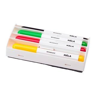Ikea Mala Tablero Blanco Marcador Set - Negro Amarillo, Roj