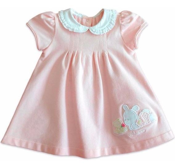 Vestido Bebê Chicco Rosa Coelhinha Gola Redonda Menina 9 Mes