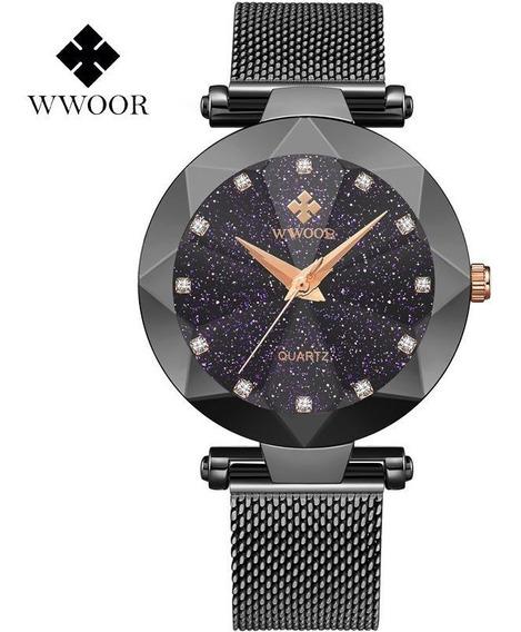 Wwoor Relógio Analógico Feminino Original Fasion