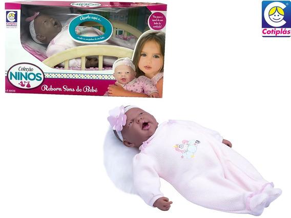Boneca Ninos Reborn Negra Sons De Bebê