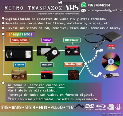 Traspaso Vhs, Vhs-c Ntsc Pal 8mm Hi8 A Dvd Pendrive