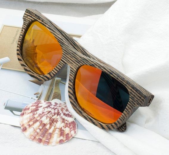 Óculos Sol Bobo Bird Zebrado Bambu Original Lente Polarizada