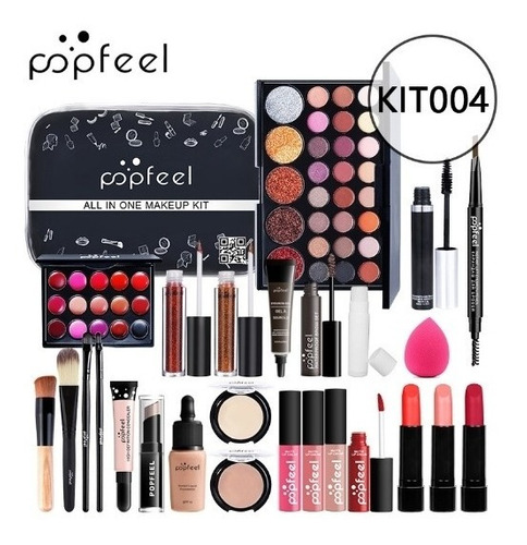 Kit Maquillaje 27 Piezas Labial Sombra Con Estuche Popfeel