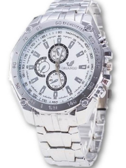 Relógio Masculino Orlando Social Branco De Aço Promoção Bem Barato Envio Imediato