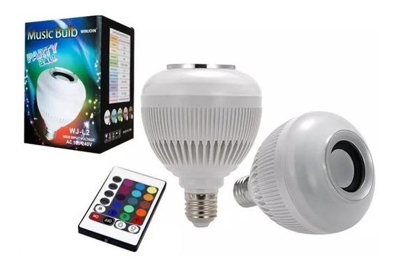 Lampada Luz Led Rgb Bluetooth Caixa Som + Controle