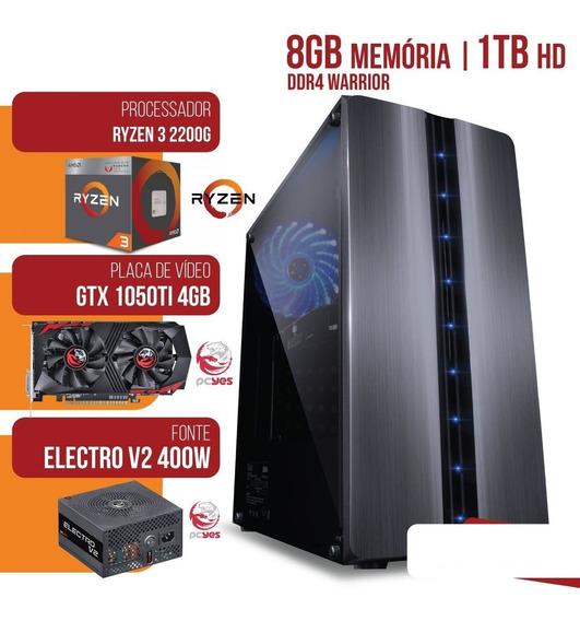 Computador Amd Ryzen 3 2200g 3.5ghz Mem.8gb Hd 1tb Gtx 1050ti 4gb Gddr5 Fonte 400w - Mvx3a3201t81050