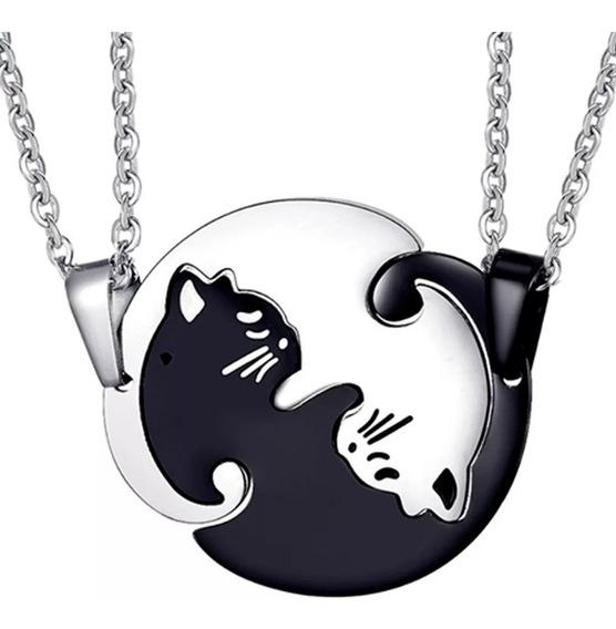 Collar Pareja Yin Yang Gatos Acero Cadena Novios Enamorados