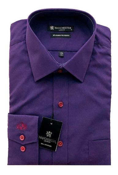 Camisa M/ L Lisa Colores Corte Clásic Manchester Moda Hombre