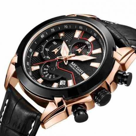 Relógio Analogico Megir 2065 Pulseira Couro Frete Gratis