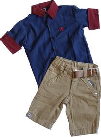Camiseta Infantil Social 3/4 Masculina + Shorts Com Elastano