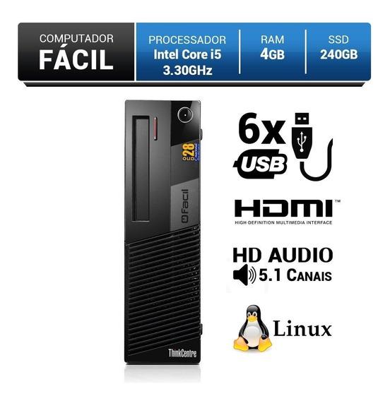 Computador Fácil Intel Core I5 2.40 Ghz 4gb Ddr3 Ssd 240gb