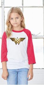 Playera 3/4 Mujer Maravilla Niñas Dc Comics Super Héroes