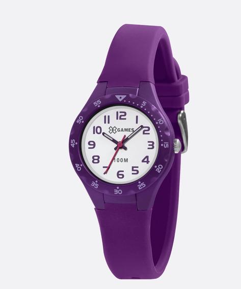 Relógio X Games Infantil Feminino Roxo Xkpp0001 Original +nf