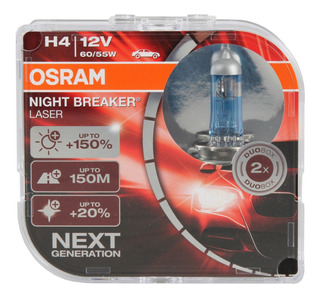 Bombillos Osram H4 Night Breaker Laser 12v 60/55w (150%+luz)
