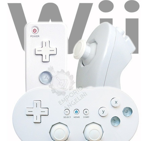Kit Controles Wii Remote Motion Plus Nunchuck + Wii Classic