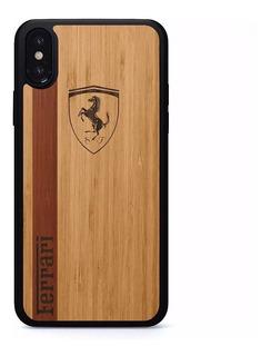 Funda Ferrari Lamborghini Madera Grabada iPhone 6 7 8 Plus X