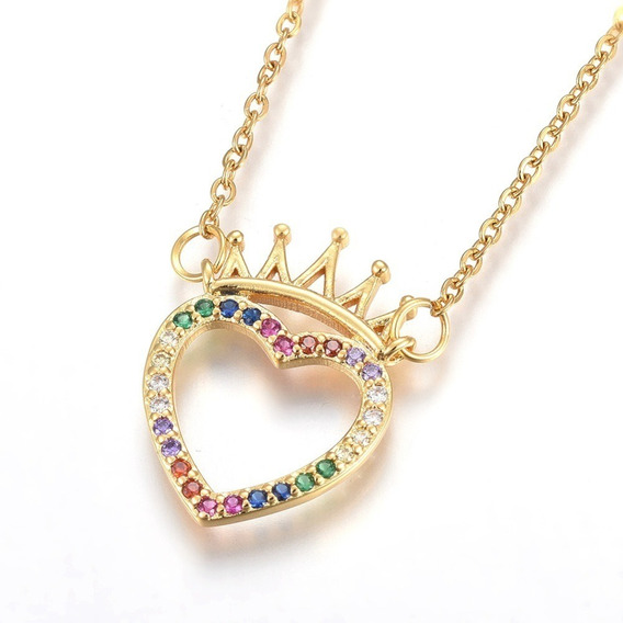 Joyería Acero Inoxidable Collar Con Zirconia Corazón Corona
