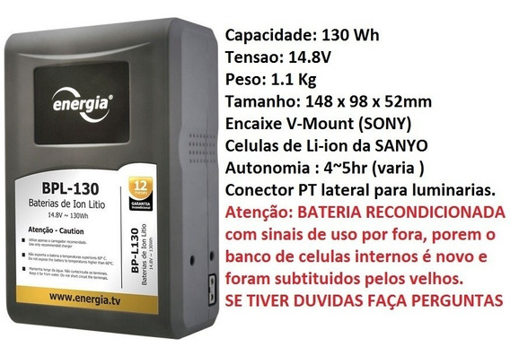 Bateria Energia P/ Linha Sony Bp-l130 Recondicionada