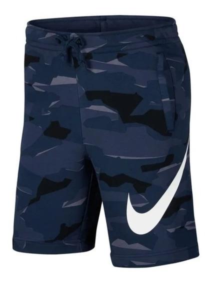 Bermuda Nike Moletom Sportswear Camuflada Azul Original
