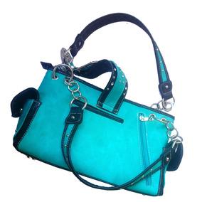 Bolsa De Luxo Country Cowgirl Azul Calcinha Couro Legitimo