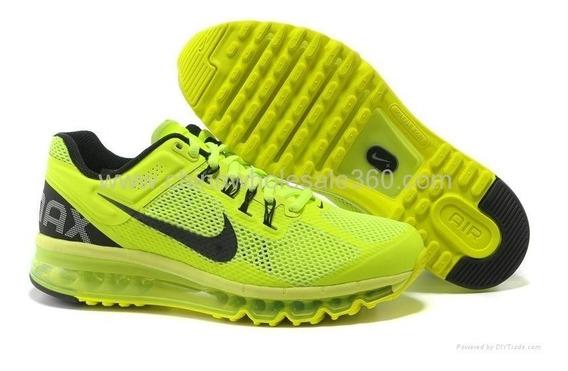 Tenis Nike Air Max 2013 Verde Limão E Preto Nº41 Original!