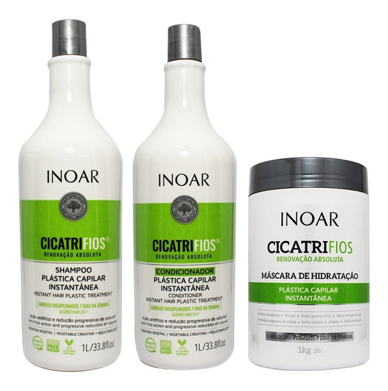 Kit Shampoo Condicionador 1l Máscara 1kg Cicatrifios - Inoar