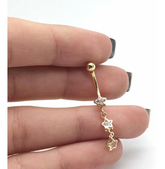 Piercing Umbigo 3 Estrelas Zirconia Branca Ouro 18k-750 228