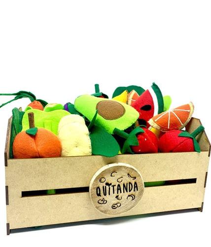 Imagem 1 de 8 de Comidinha Feltro Kit Pedagógico Frutas Legumes No Caixote Gr