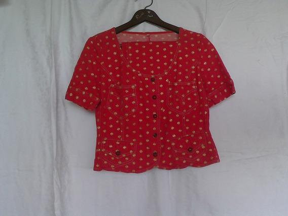 Conjunto De Falda Y Blusa En Jeans Rojo, Marca Moschino.
