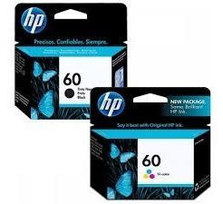 2 Cartuchos Hp60 Preto + 2 Cartchos Hp60 Colorido Originais