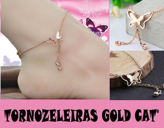 Tornozeleira Ouro Rosa Com Pingentes Borboletas Gold Cat