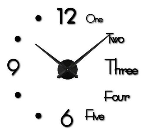 Reloj De Pared 3d Color Negro Tamaño 100x100