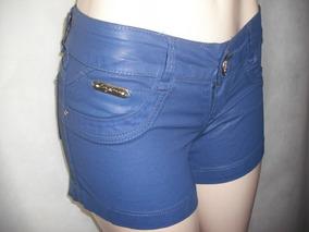 Shorts Curto Azul Resinado 36 P Imita Couro Usado Bom Estado
