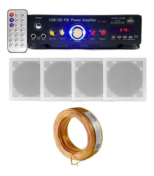 Kit Som Ambiente Bluetooth + 4 Arandela Quad P/ Teto Gesso