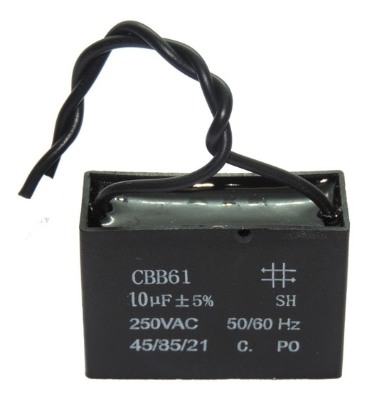 Capacitor P/ Ventilador Exaustor - 2 Fios 10uf 48x23x34mm